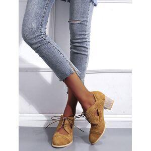 milanoo.com Women Retro Mid-Low Heels Vintage Round Toe Chunky Heel Lace Up Pumps