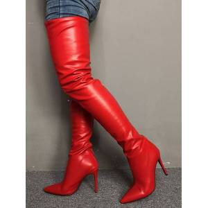 milanoo.com Milanoo Thigh High Boots Womens Red Pointed Toe Stiletto Heel Over The Knee Boots  - Red - Size: US12(EU44.5 CN45)