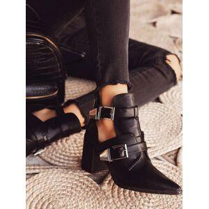 milanoo.com Black Summer Boots Women Pointed Toe Metal Details Block Heel Short Boots  - Black - Size: US8.5(EU38.5 CN39)
