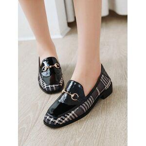 milanoo.com Milanoo Black PU Leather Loafers Square Toe Metal Details Casual Shoes Women\'s Shoes  - Black - Size: US12(EU44.5 CN45)