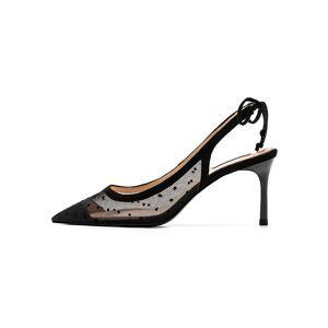 "milanoo.com Milanoo Women\'s Heels Black Low-Tops Stiletto Lace&PU Leather Non-Slip Rubber Shoes  - Black - Size: 2 3/4"""