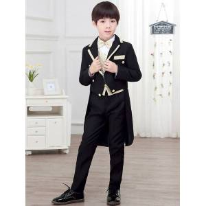milanoo.com Milanoo Ring Bearer Suits Boys Black 5 Piece Outfit Wedding Party Formal Wear  - Black - Size: 140cm