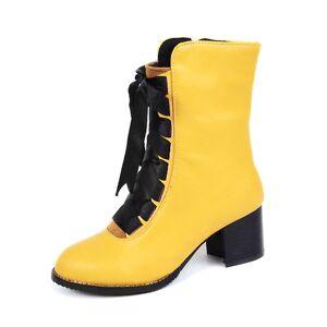 milanoo.com Milanoo Women's White Booties Leather Lace Up Chunky Heel Short Boots  - Yellow - Size: US12(EU44.5 CN45)