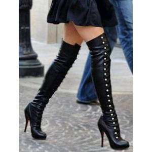 milanoo.com Milanoo Black Thigh High Boots Womens Rivets Round Toe Stiletto Heel Boots  - Black - Size: US12(EU44.5 CN45)
