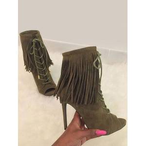 milanoo.com Milanoo High Heel Booties Women's Brown Peep Toe Lace Up Ankle Boots With Tassels  - olive - Size: US12(EU44.5 CN45)