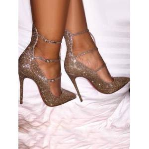 milanoo.com Milanoo Gold Glitter Prom Heels Sparkly Pumps Pointed Toe Stiletto High Heels  - Blond - Size: US12(EU44.5 CN45)
