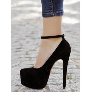 milanoo.com Milanoo Women's Black Platform Heels Round Toe Ankle Strap Pumps Round Toe Heeled Shoes  - Black - Size: US12(EU44.5 CN45)