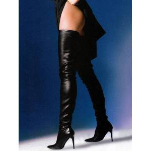 milanoo.com Milanoo Black Leather Thigh High Boots 2020 Pointed Toe Over The Knee Boots US 6-12  - Black - Size: US12(EU44.5 CN45)