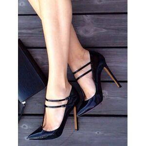 milanoo.com Milanoo Black Sexy High Heels Women T-bar Pointed Toe Stiletto Heel Shoes  - Black - Size: US12(EU44.5 CN45)