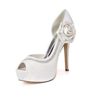 milanoo.com Milanoo Ivory Wedding Shoes Lace Platform Peep Toe Rhinestones High Heel Bridal Shoes  - White - Size: US8-8.5(EU39 AU6.5-7 UK6-6.5)