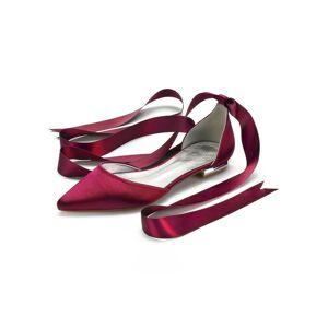 milanoo.com Milanoo Ivory Wedding Shoes Satin Pointed Toe Lace Up Flat Bridal Shoes Bridesmaid Shoes  - Burgundy - Size: US6.5-7(EU37 AU5-5.5 UK4.5-5)