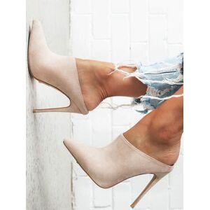 milanoo.com Milanoo High Heel Mules Suede Pointed Toe Slip On Slide Shoes  - Light Apricot - Size: US12(EU44.5 CN45)