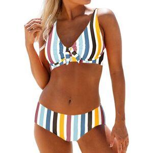 Modlily Womens Multicolor Striped Underwire Bikini Set Mid Spaghetti Strap Swimsuit - S  - black,white,blue - Size: Small