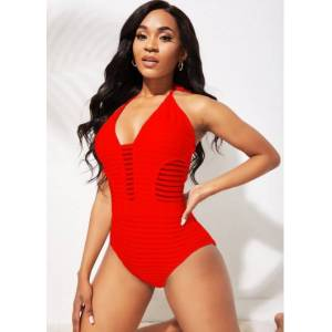 Modlily Halter Ladder Cutout Red One Piece Swimwear - L  - Red - Size: Large