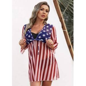 Modlily Independence Day July 4Th American Flag Print Tie Front Wire Free 3/4 Sleeves Cover Up - L  - Red - Size: Large