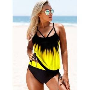 Modlily Ombre Tie Side Strappy Back Tankini Set - XL  - Yellow - Size: Extra Large