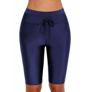 Modlily High Waist Drawstring Detail Swim Pants - L  - Navy Blue - Size: Large