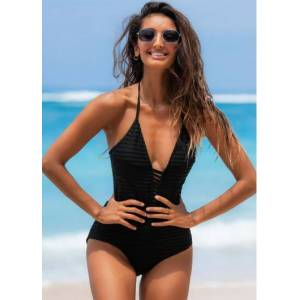 Modlily Ladder Cutout Black Halter One Piece Swimwear - M  - Black - Size: Medium