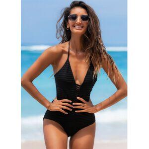 Modlily Ladder Cutout Black Halter One Piece Swimwear - XL  - Black - Size: Extra Large