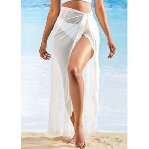 Modlily Asymmetric Hem Side Slit One Piece Beach Skirt - L  - White - Size: Large