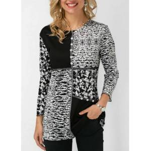 Modlily Womens 3/4 Sleeve Color Block White And Black Casual Top Blouse - XXL  - Black - Size: 2X-Large