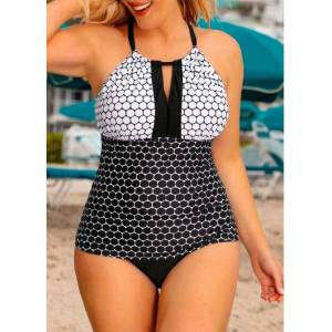 Modlily Plus Size High Neck Polka Dot Print Tankini Set - 0X  - black,white,blue - Size: 0X