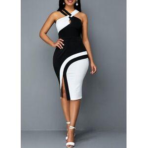 Modlily Side Slit Sleeveless Color Block Sheath Dress - L  - black,white,blue - Size: Large