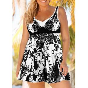 Modlily Plus Size Black And White Floral Keyhole Back Floral Print Swimdress And Shorts - 0X  - Black - Size: 0X