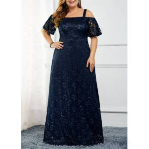 Modlily Navy Blue Strappy Cold Shoulder Back Zipper Lace Dress Sequin New Year Eve Party Maxi Dress - 0X  - Navy Blue - Size: 0X