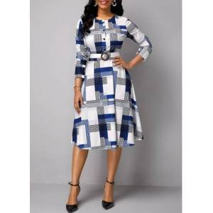 Modlily White Geometric Print Long Sleeve Belted Work Dress - 10  - black,white,blue - Size: 10