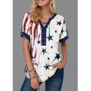 Modlily American Flag Print Lace Up Short Sleeve Blouse - S  - White - Size: Small