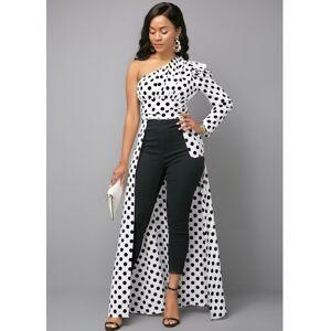 Modlily Polka Dot Print One Shoulder Color Block Blouse - 14  - black,white,blue - Size: 14