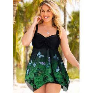 Modlily Printed Open Back Plus Size Swimdress and Shorts - 1X  - Dark Green - Size: 1X