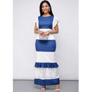 Modlily Lace Panel Short Sleeve Maxi Dress - M  - black,white,blue - Size: Medium