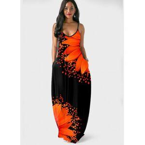 Modlily Spaghetti Strap Side Pocket Sunflower Print Dress - XL  - Orange - Size: Extra Large