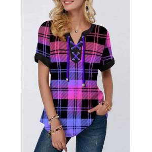 Modlily Plaid Print Lace Up Short Sleeve Blouse - XS  - Purple - Size: Extra Small