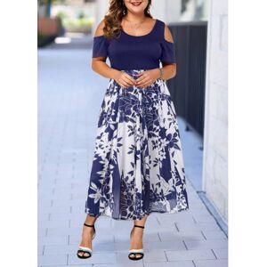 Modlily Women's Navy Blue Plus Size Dress Plus Size Cold Shoulder Printed Dress - 2X  - Navy Blue - Size: 2X
