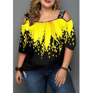 Modlily Plus Size Sunflower Print Cold Shoulder T Shirt - 3X  - Yellow - Size: 3X