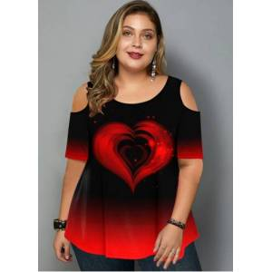 Modlily Plus Size Cold Shoulder Ombre Heart Print T Shirt - 3X  - Red - Size: 3X