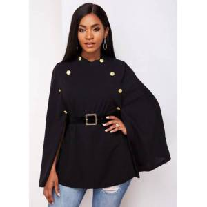 Modlily Buckle Belted Cape Sleeve Button Detail Trench Coat - L  - Black - Size: Large