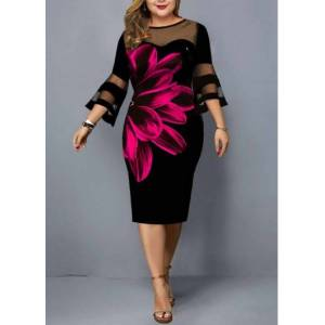 Modlily Plus Size Flare Sleeve Floral Print Dress - 3X  - Black - Size: 3X