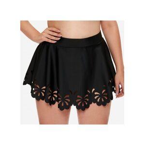 Modlily Plus Size Pierced Black High Waist Pantskirt - 3X  - Black - Size: 3X