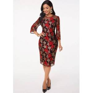 Modlily Lace Stitching Round Neck 3/4 Sleeve Dress - S  - Red - Size: Small