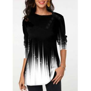 Modlily Gradient Button Detail Long Sleeve Tunic Top - XL  - White - Size: Extra Large