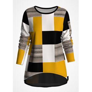 Modlily Geometric Print Chiffon Panel Long Sleeve T Shirt - L  - Ginger - Size: Large