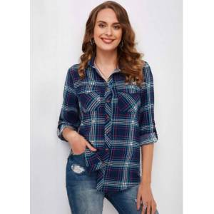 Modlily Plaid Button Up Turndown Collar Shirt - S  - Blue - Size: Small