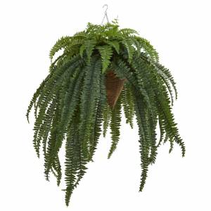 "Nearly Natural Giant Boston Fern Artificial Plant in Hanging Cone 50"" Silk Plant, Faux Plant, Fake Plant by Nearly Natural"