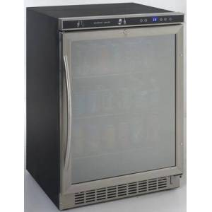 """Avanti BCA5105SG-1 24"""" ADA Compliant Beverage Cooler with 5.1 cu. ft. Capacity  Double Pane Tempered Glass Door  3 Adjustable Chrome Wire Shelves  and"""