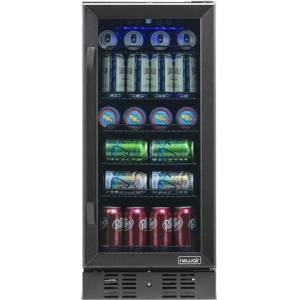 "NewAir NBC096BS00 15"" Beverage Center with 96 Can or 3.2 cu. ft. Capacity  Digital Temperature Readout  Triple Pane Glass Door  in Black Stainless"