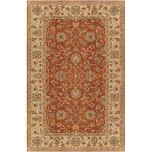 Surya Crowne CRN-6002 4' x 6' Rectangle Traditional Rug in Camel  Khaki  Tan  Dark Brown  Charcoal  Dark